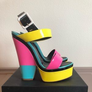 Giuseppe Zanotti Neon Wedge Sandals 39 Worn Once